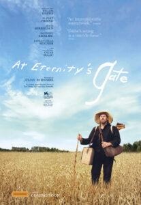 Постер до фільму. Художник Ван Гог у брилі стоїть посеред пшеничного поля.